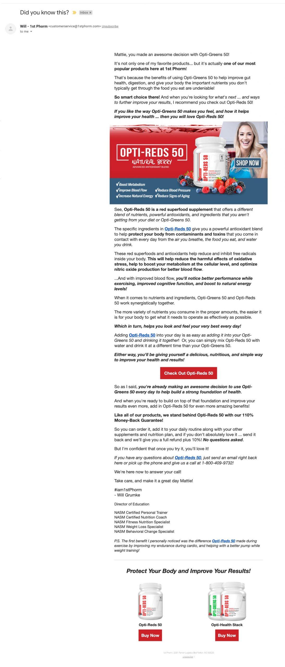 Email Breakdown: 1st Phorm